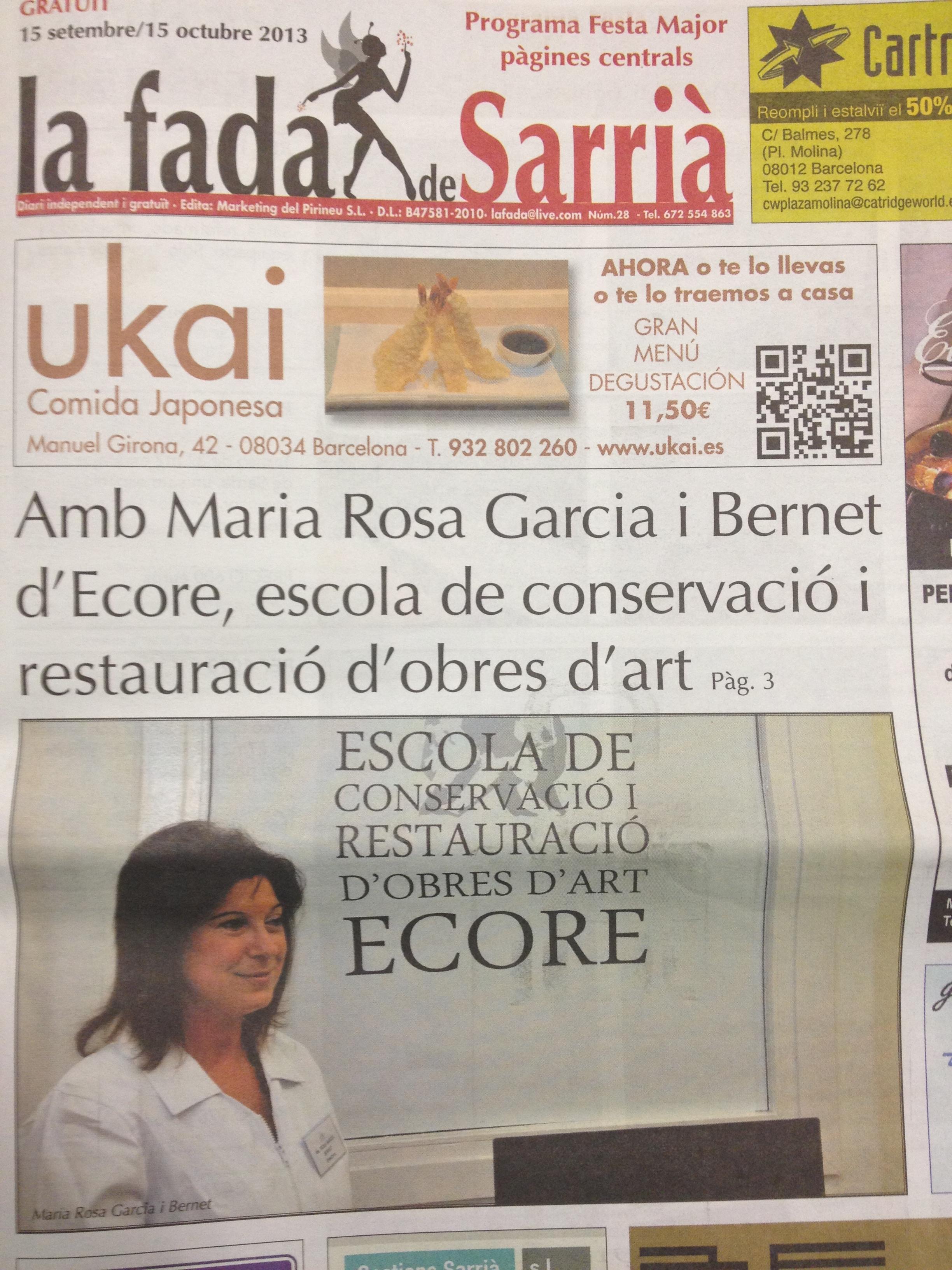 En el número de septiembre de la revista La Fada de Sarrià, podéis encontrar la entrevista realizada a la directora de Ecore, Ma. Rosa García Bernet. Aquí tenéis el enlace […]